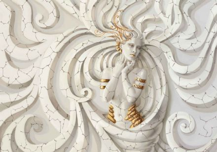 Giant non-woven wallpaper murals  Sculpture Yoga Woman Swirls Medussa 3161